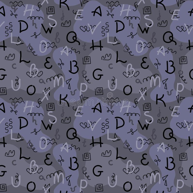 De tekening van de krabbelhand Naadloos patroon Brieven van verschillende kleuren, abstracte vlekken, camouflage Vector illustrat stock illustratie