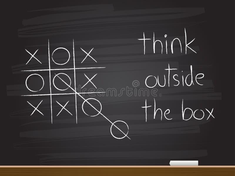 De tekening van de krijthand met denkt buiten de doos vector illustratie