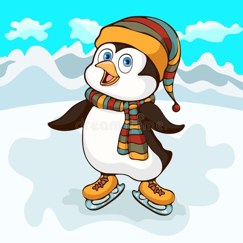 De tekening van de pinguïnhand, beeldverhaalkarakter, vectorillustratie, karikatuur Kleurrijk schilderde weinig leuke grappige pi royalty-vrije illustratie
