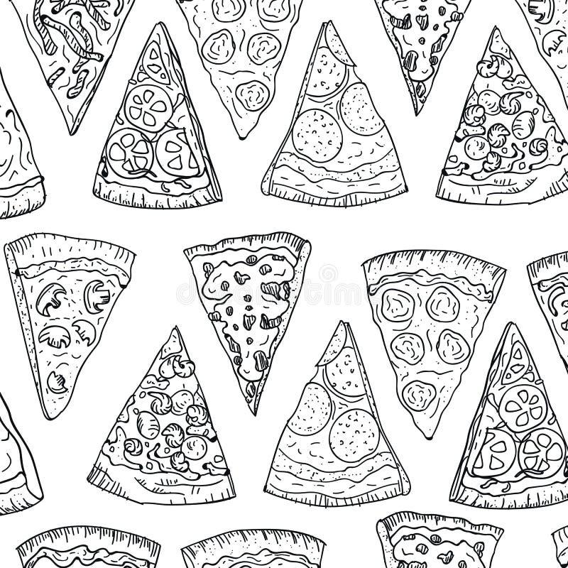 De tekening van de de plakkenhand van de patroonpizza in krabbelstijl op witte achtergrond wordt geïsoleerd die Van de de tekenin royalty-vrije stock foto's