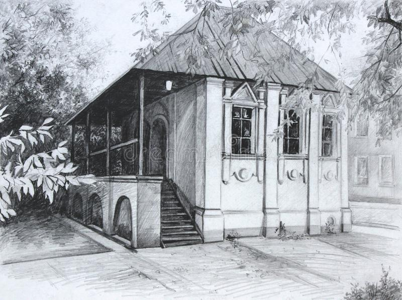 De tekening van Saransk van de stadsarchitectuur stock foto