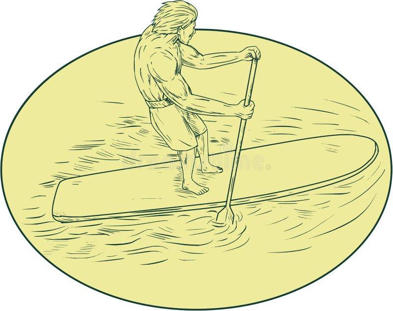 De Tekening van surferdude stand up paddle oval stock illustratie
