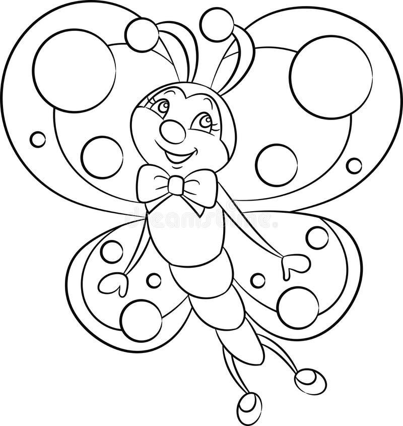 De tekening van zwart-witte, contourkawaii van een kleine vlinder, voor de kleuringsboek van kinderen of kleuringsspel stock illustratie