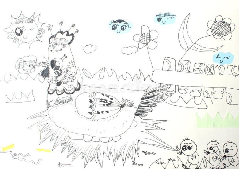De tekeningen van kinderen royalty-vrije stock afbeeldingen