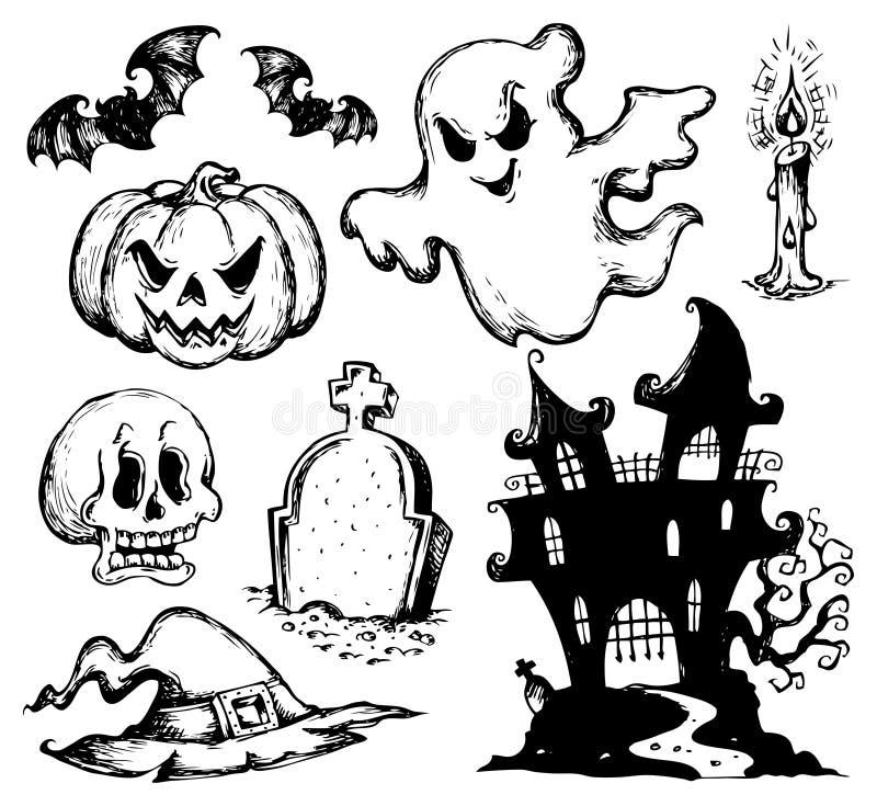 De tekeningeninzameling 1 van Halloween vector illustratie