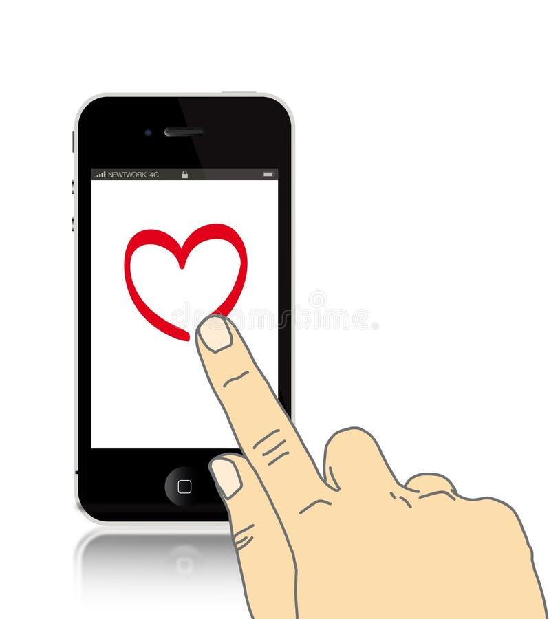 De tekeningshart van de hand op Iphone