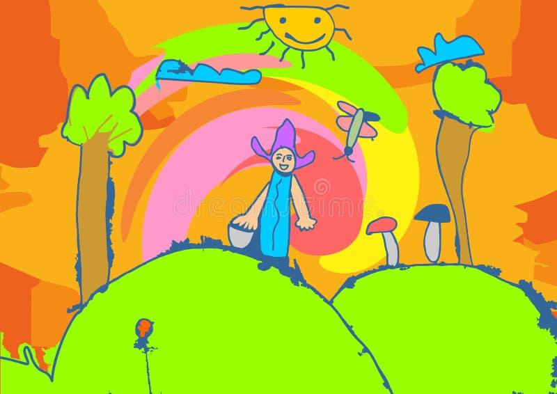 De tekeningskinderen die van illustratienaif in de tuin spelen stock foto's