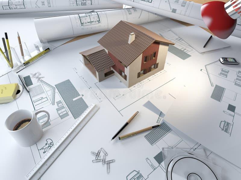 De tekeningslijst van de architect met 3d model royalty-vrije illustratie