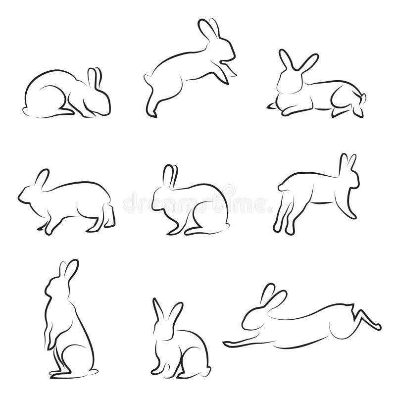 De tekeningsreeks van het konijn