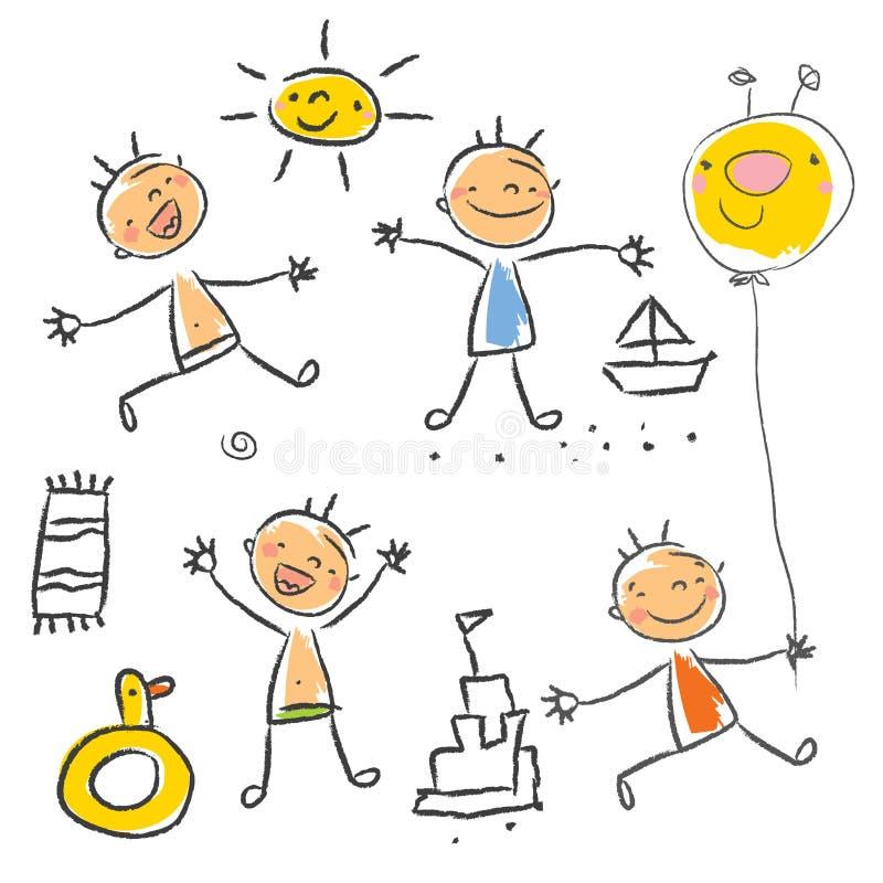 De tekeningsreeks van kinderen stock illustratie