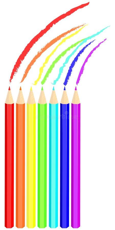 Download De Tekeningsregenboog Van Het Kleurpotlood Vector Illustratie - Illustratie bestaande uit pastelkleur, achtergronden: 10775472