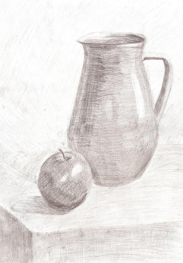 De tekeningsstilleven van het schetspotlood royalty-vrije illustratie