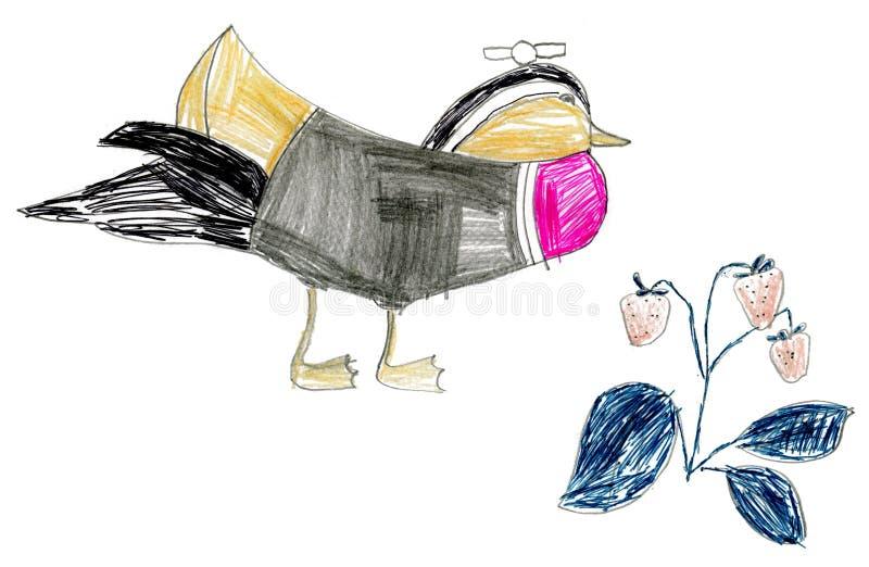 De tekeningsvogels van kinderen stock illustratie