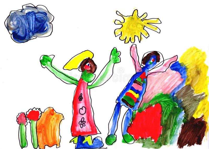 De tekeningswaterverf van het kind stock afbeeldingen