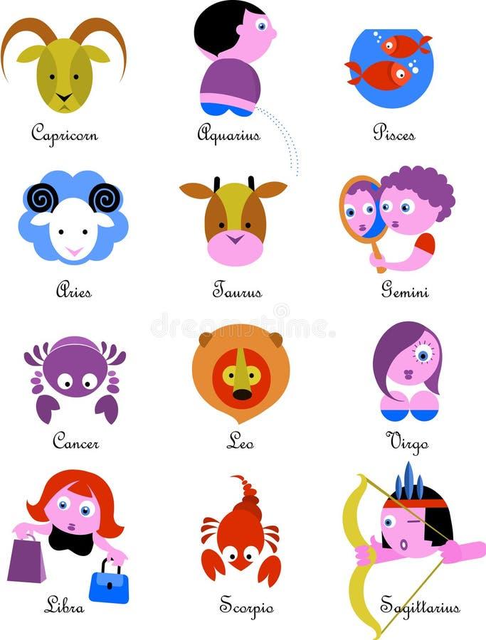 De Tekens/de pictogrammen van de dierenriem vector illustratie