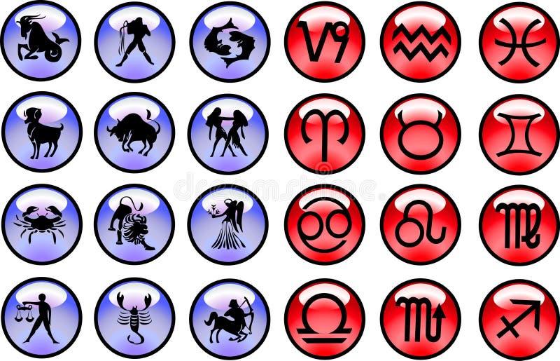 De tekens en de symbolen van de horoscoop stock illustratie