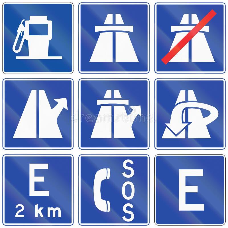 De Tekens van de autosnelweginformatie in Chili royalty-vrije illustratie