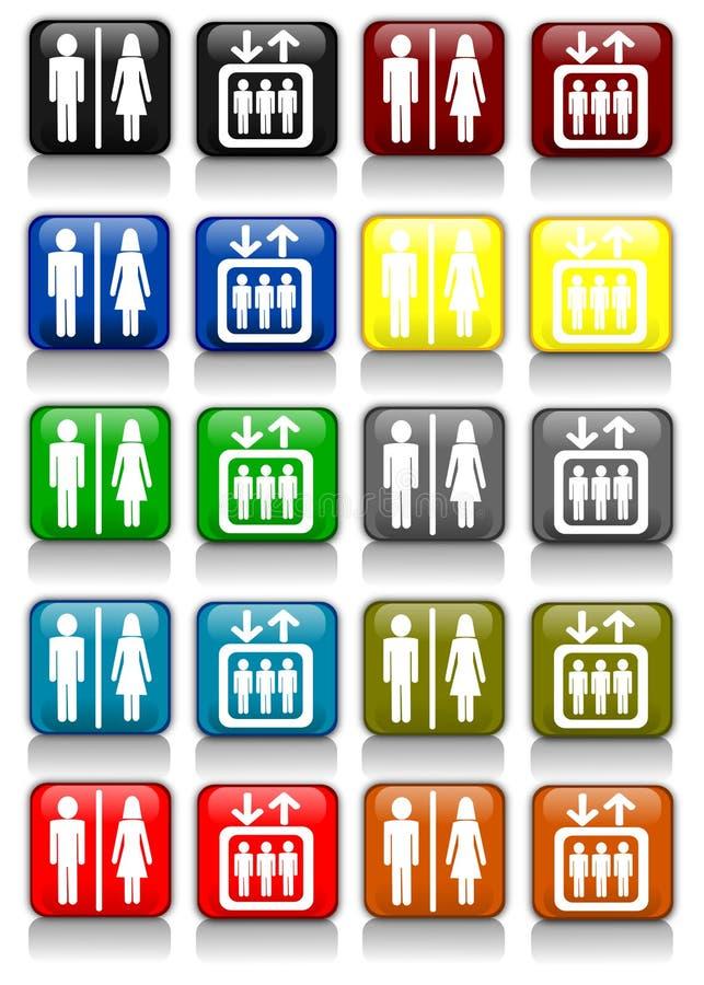 De tekens van de badkamers en van de lift royalty-vrije illustratie