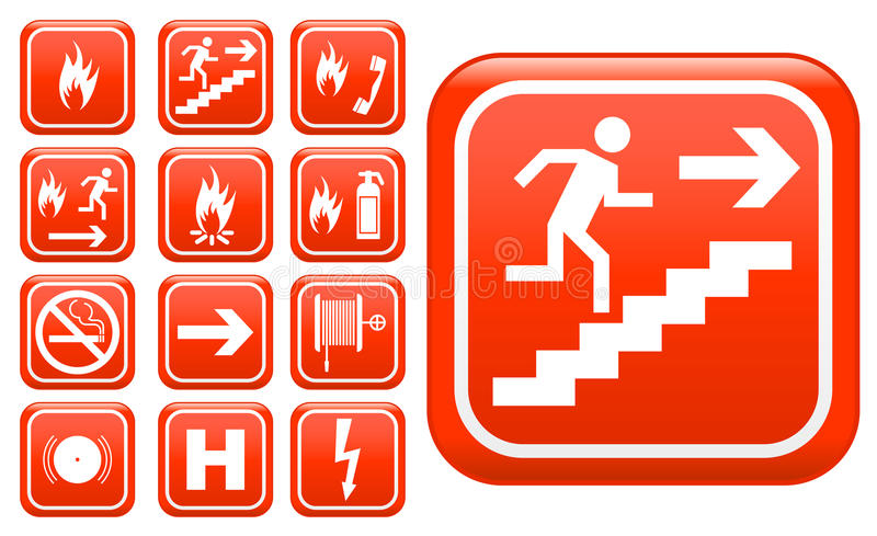 De tekens van de de noodsituatiebrandveiligheid van ED vector illustratie