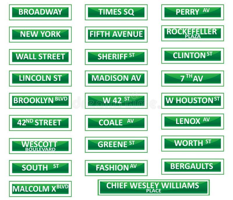 De tekens van de de stadsstraat van New York stock illustratie