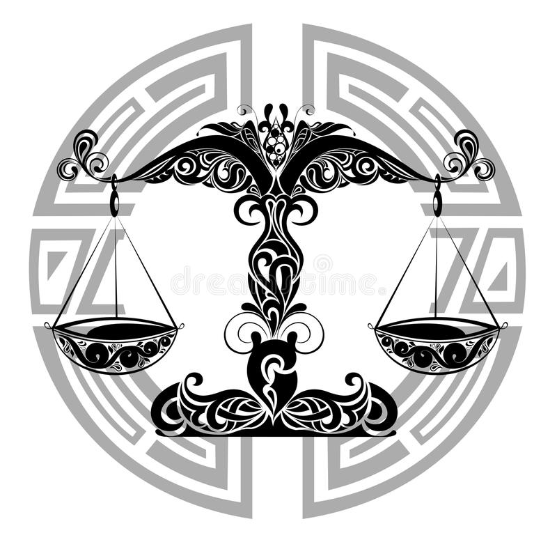 De tekens van de dierenriem - ontwerp Libra.Tattoo royalty-vrije illustratie