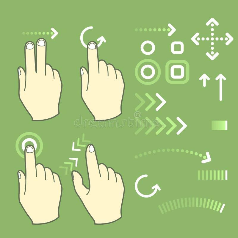De tekens van de het gebaarhand van het aanrakingsscherm vector illustratie