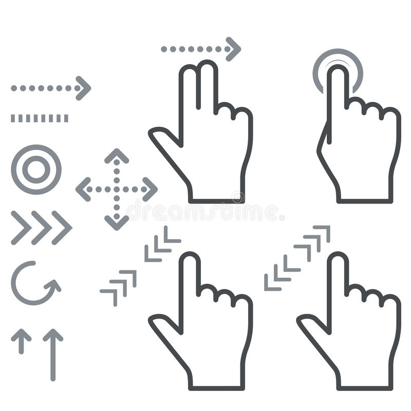 De tekens van de het gebaarhand van het aanrakingsscherm stock illustratie