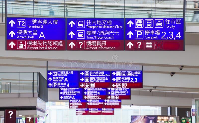 De tekens van de luchthaveninformatie stock afbeelding