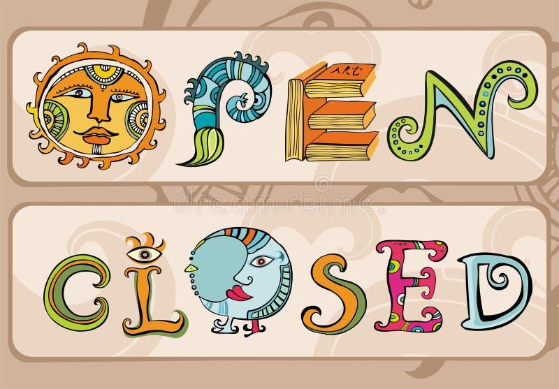 De Tekens van de opslag: Open, Gesloten. vector illustratie