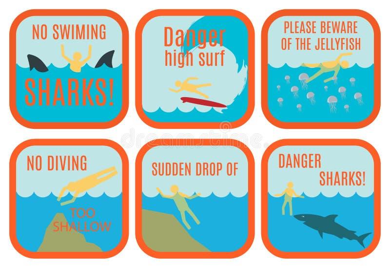 De tekens van de strandveiligheid royalty-vrije illustratie