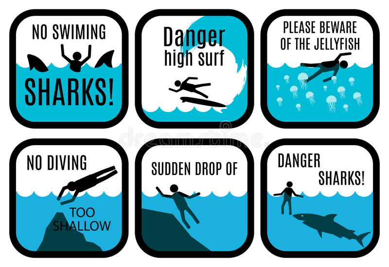De tekens van de strandveiligheid vector illustratie
