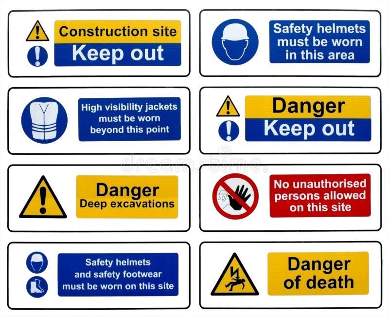 De Tekens van de Veiligheid van de bouw stock afbeelding