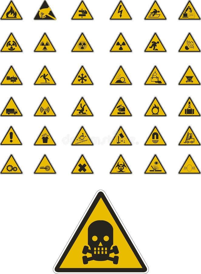 De tekens van de waarschuwing en van de veiligheid royalty-vrije illustratie