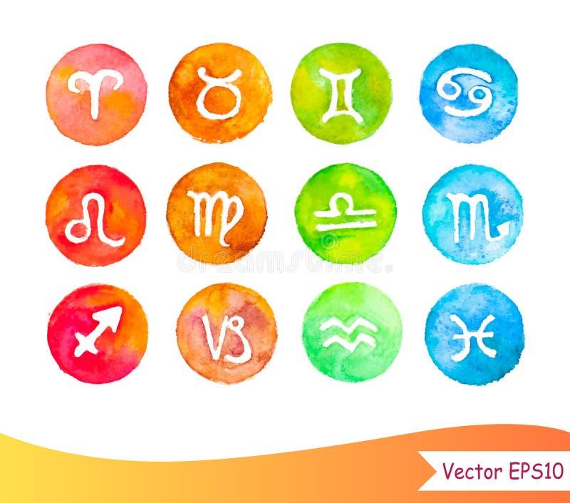 De tekens van de Watercolourhoroscoop vector illustratie