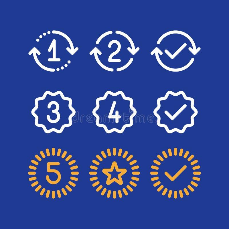 De tekens van garantiejaren, de periode van de waarborgdienst, goedgekeurd teken, lijnpictogrammen vector illustratie