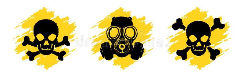 De Tekens van giftig Gevaargrunge Vergift vectorsymbolen Schedel en gekruiste knekelstekens Gasmaskerwaarschuwingsbord stock illustratie
