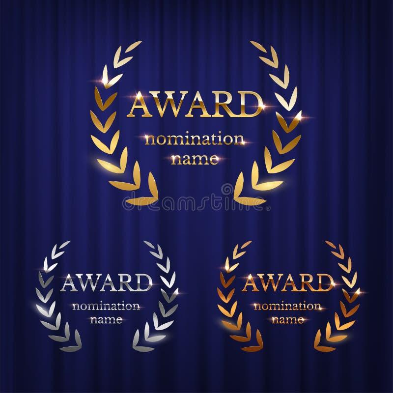 De tekens van de gouden, zilveren die en bronstoekenning met lauwerkrans op blauwe gordijnachtergrond worden geïsoleerd Vectortoe stock illustratie