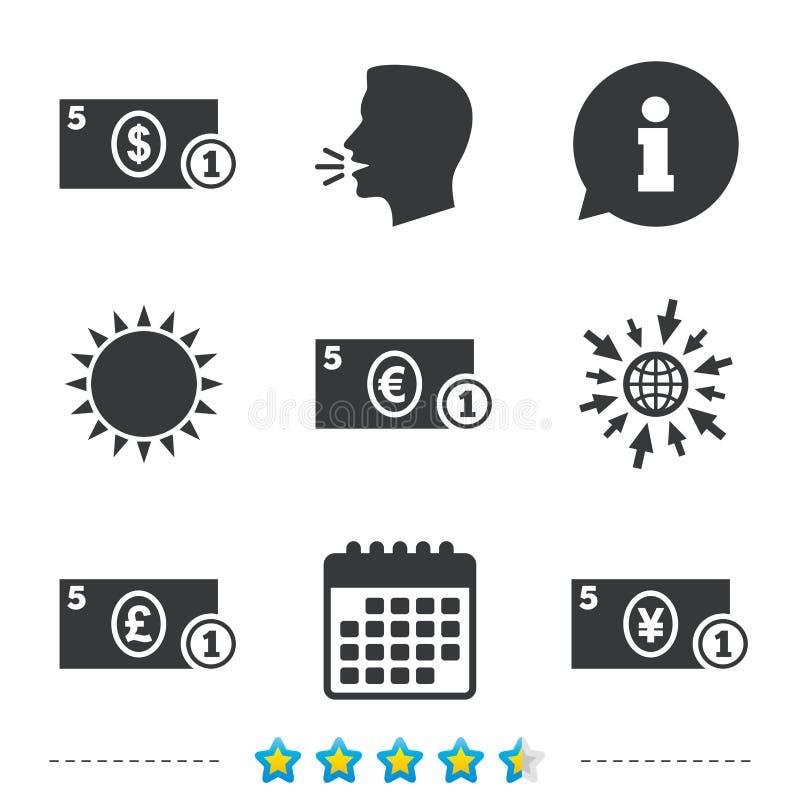 De tekens van het contant geldgeld Dollar, euro en pondpictogrammen stock illustratie