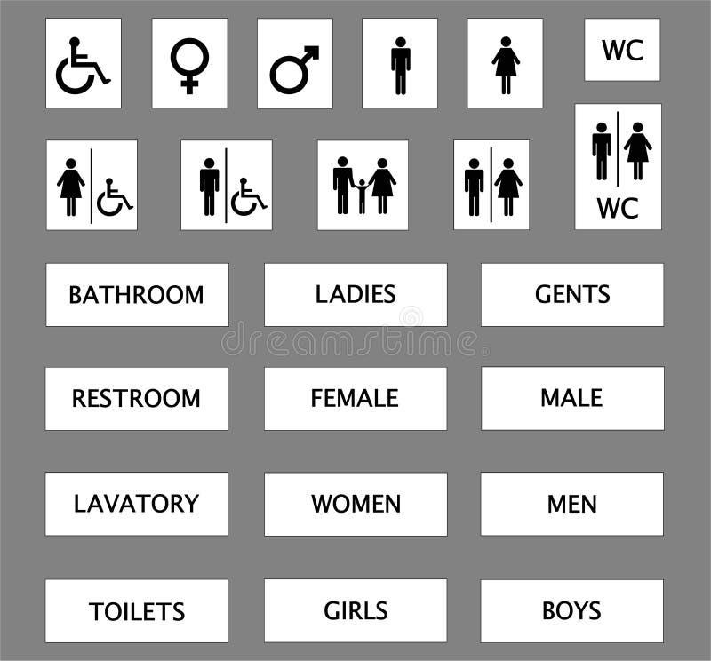 De tekens van het toilet vector illustratie