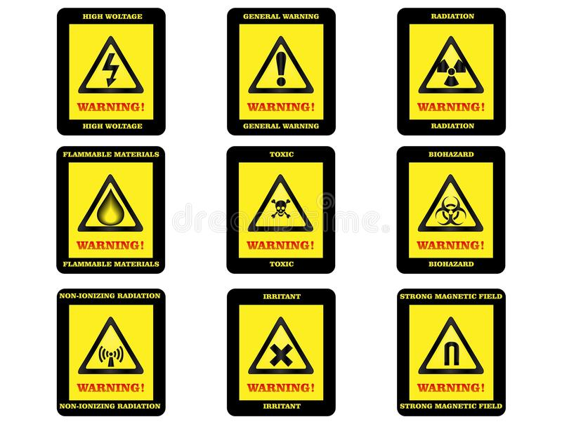De Tekens van het waarschuwingsgevaar royalty-vrije stock afbeeldingen