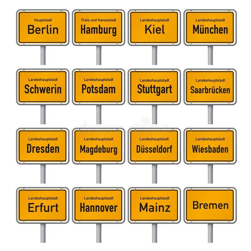 De tekens van de stadsgrens van de Duitse kapitalen van de staat vector illustratie