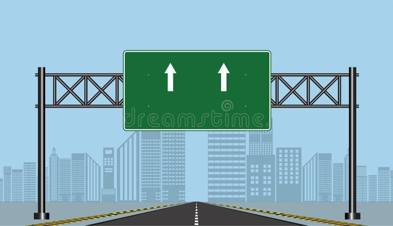 De tekens van de wegweg, Groene raad op weg, Vectorillustratie royalty-vrije illustratie