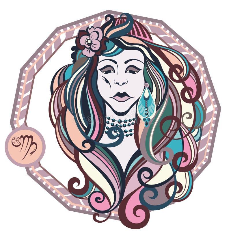 De tekensvirgo van de dierenriem Vectorillustratie van het meisje royalty-vrije illustratie