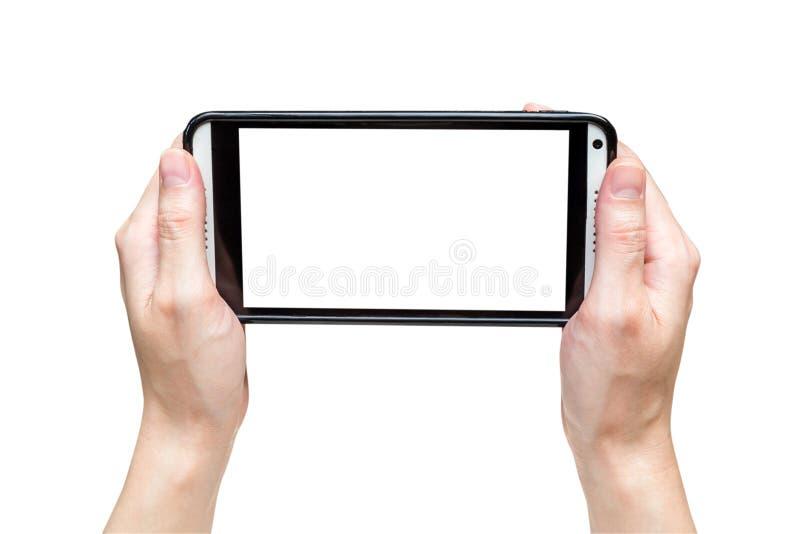De teking foto van de handvrouw met smartphone royalty-vrije stock foto's