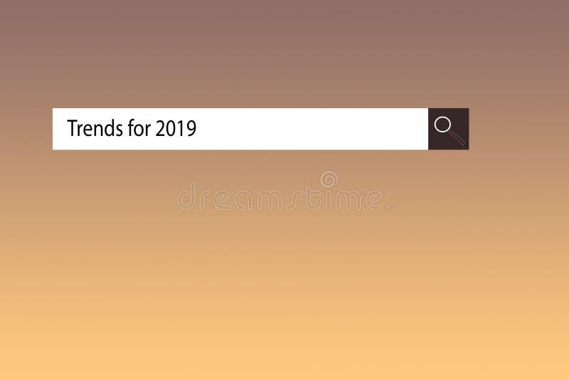 De tekst in browser toont 'Tendensen voor 2019 ' Conceptuele fotolijst van dingen die in dit jaar populair gaan worden stock illustratie