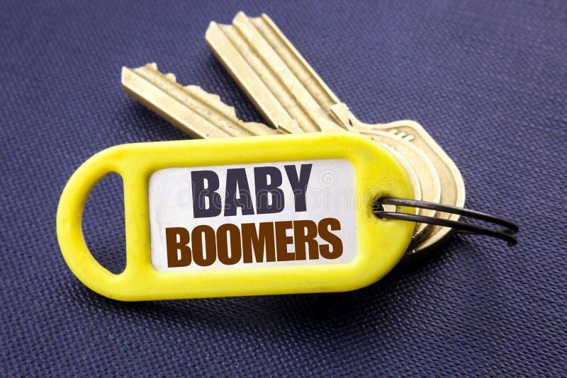 De tekst die van de handschriftaankondiging Baby Boomers tonen Bedrijfsconcept voor Demografische die Generatie op zeer belangrij royalty-vrije stock afbeelding