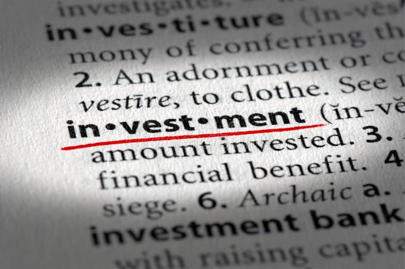 De tekst en de definitie van de investering royalty-vrije stock afbeelding