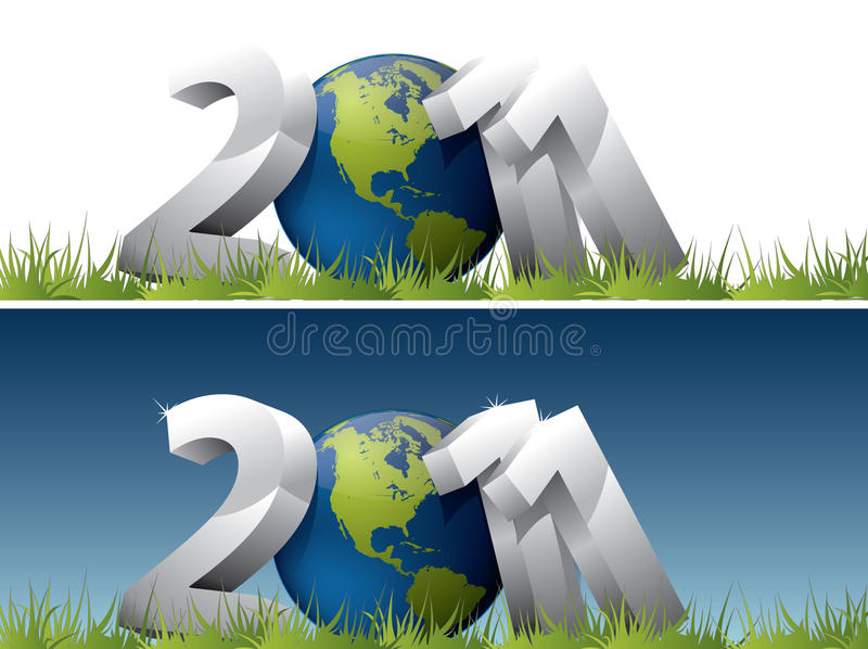 de tekst van 2011 met de bol van de Aarde royalty-vrije illustratie