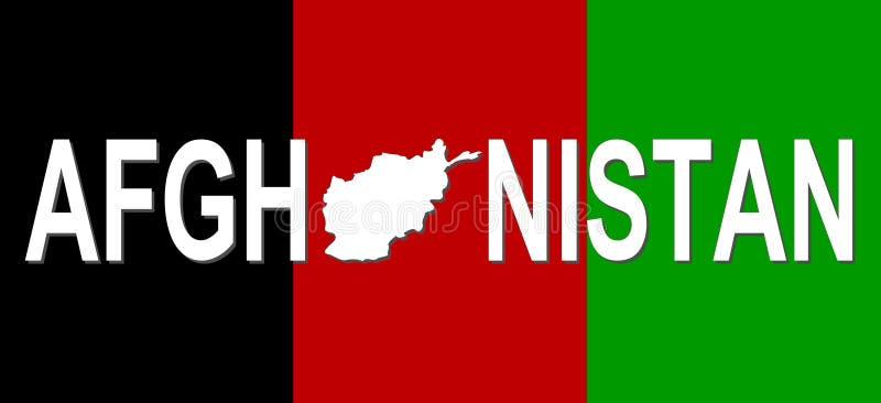 De tekst van Afghanistan met kaart stock illustratie
