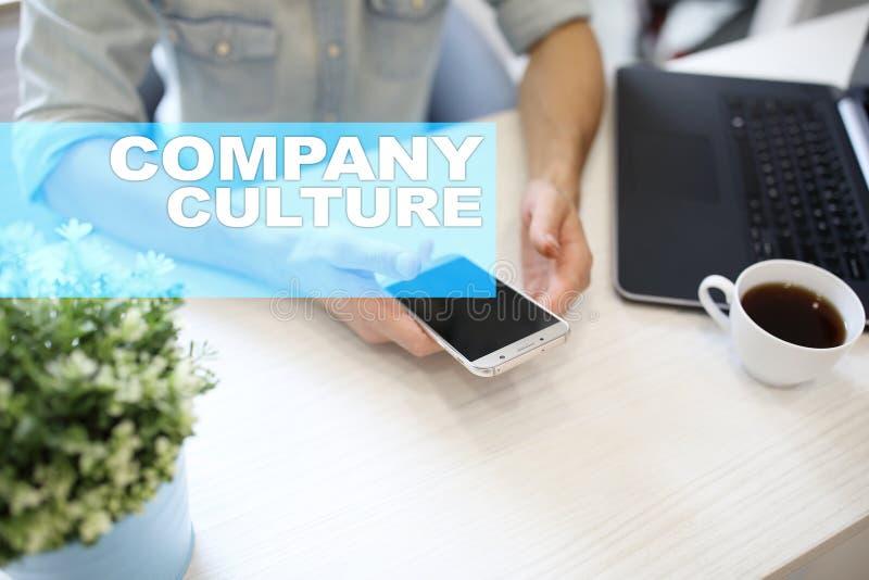 De tekst van de bedrijfcultuur op het virtuele scherm Zaken, technologie en Internet-concept stock foto's